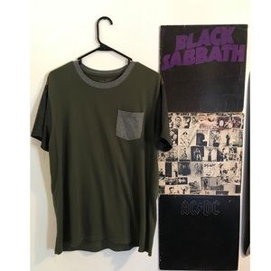 Green and gray crew-neck shirt